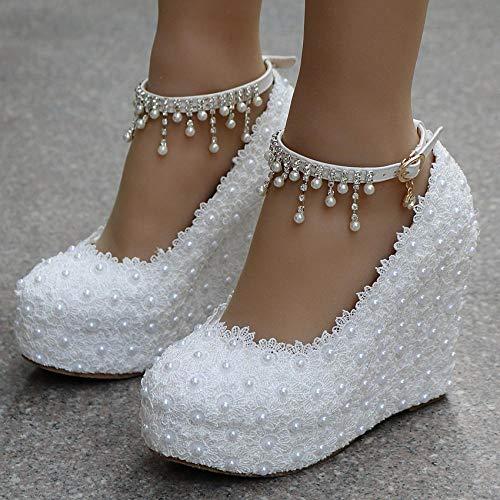 xiangqian Brautschuhe, Schleifen, Damenschuhe, HochzeitsschuheHang einzelne Schuhe Perlen Spitze Hochzeit Schuhe One-Strap Gürtel wasserdichte Plattform Ultra High Heel (8cm oder mehr)@Weiß_38 -