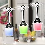 Elegante Diseño Colgante de luz 3 luces Vaso Luces Colgando Copa de vino LED Lámpara de techo Vino Vaso Sombra Candelabros para Bar Salón Sala, D65 * H175CM, 3 * 5W