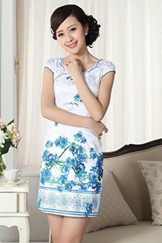 Smile YKK Qipao Robe de Soiree Courte Aimable Femme Chinoise Fleur Blanc Bleu