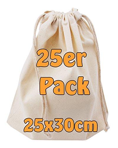 Baumwollbeutel Stoffbeutel mit Kordelzug Lunchsack Kosmetikbeutel Sockenbeutel Schmucksäckchen Spielzeugtäschchen für Kleinigkeiten natur 25x30cm 25 Stück