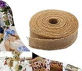 CCINEE 10 Yards 1.5 inch Natural Burlap Ribbon Hessian Ribbon Roll for DIY Crafts Wedding Decorations