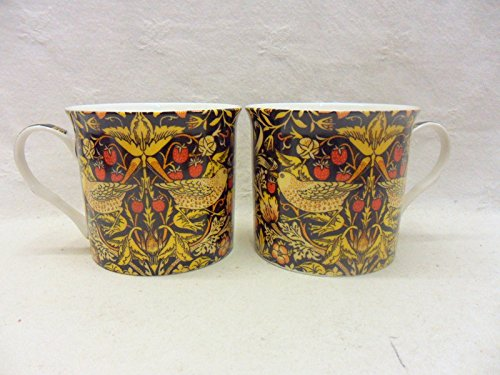 Set of 2 China Palace Mugs in vintage William Morris birds tapestry design