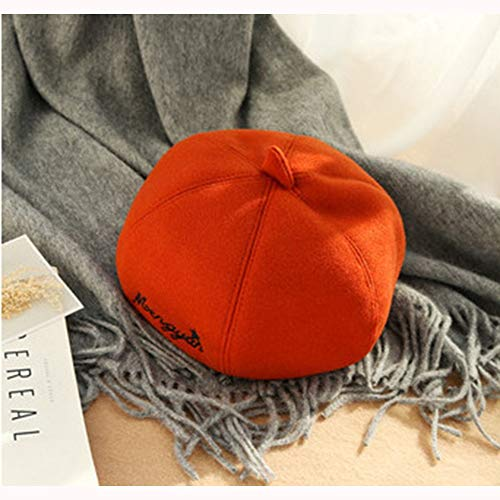 S*women's hat Schatten Kürbis-Hut-Wilde Reine Farbflut Nette Retro kleine frische Wolle-achteckige Kappen-Barett Stilvoll (Farbe : Orange) (Womens Kleine Floppy-hut)
