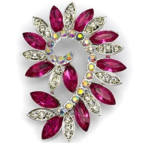 Elixir77UK Silver and Pink Colour Flower Fashion Gift Pin Brooch With Plain and AB Crystals UK SELLER