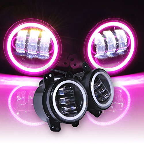 Preisvergleich Produktbild Omotor Pair 60W 4 Inch Round Cree Led Fog Light Pink Halo Ring & White Lamp DRL Bulb Angle Eyes for Jeep Wrangler JK LJ TJ Headlight Trackor Boat Auto Driving Offroad Lamp Accessories