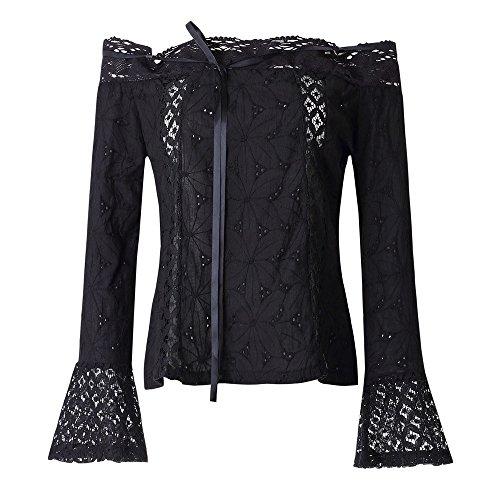 Tops Mujeres❤️Lonshell Camisetas Mangas Largas Hombros Expuestos Ropas Mujeres Señoras con Encaje Blusa Camisetas de Color Puro Camisetas Sueltas Verano Otoño (L, Negro)