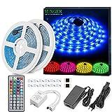 Striscia LED RGB 10M, Minger LED Striscia Impermeabile 5050 Cambiamento di colore Kit completo con...