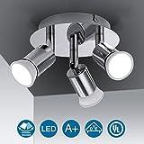 Elfeland LED Deckenleuchte mit 3x GU10 Schwenkbaren Fassungen Deckenstrahler Decken-Lampe Ceiling Light LED Strahler Deckenspot Küchenlampe Innenleuchte Baddeckenleuchte Wohnzimmerleuchte Spotleuchte Drehbar (ohne lichtquelle)