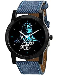 IntenseKart Analogue Mahadev Print Black Dial Blue Leather Belt Wrist Watch For Men & Boys