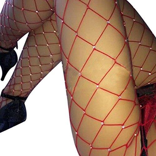 Sannysis Damen Strass Fischnetz Strümpfe Elastisch Strumpfhose (Rot, Freie Größe) (Fischnetz-strümpfe Naht)