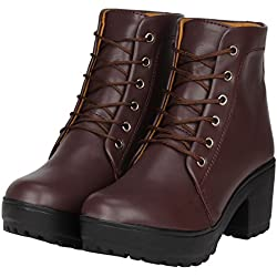 FASHIMO Beautiful Leather Look Ankle Lenght Boot for Women.PN1-brown-41