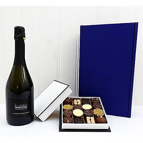 ofertas para el dia de la madre Di Maria Sparkling wine 750 ml con 16 chocolates belgas de chocolate - Idea de regalo para el aniversario, aniversario, como agradecimiento, Día de la madre, compromiso, inauguración