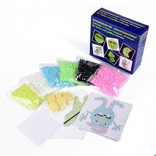 Bügelperlenset, nachtleuchtend, 6000 Bügelperlen in 6 Farben + Universalsteckplatte + 20 Vorlagen