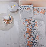 Dormisette Bettwäsche Set Mako Satin Baumwolle 135 x 200 Orange Beige Grau