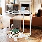 GOTOTOP Laptop-Tisch, Doppelschicht bewegliches Sofa Bed Pflegetisch Notebooktisch Beweglich Laptopständer Frühstückstisch Schreibtisch, 48 * 30.5 * 60.2cm (U-Typ, Weiß)