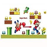 JUNMAONO Super Mario Wandaufkleber/Wandgemälde/Wand Poster/Wandbild Aufkleber/Wandbilder/Wandtattoo/Tapete/Tapezieren/Tapeten/Wand Zeitung/Instant Aufkleber