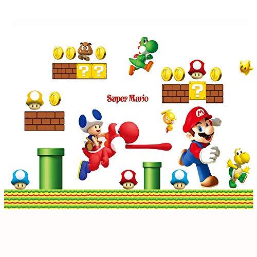 (JUNMAONO Super Mario Wandaufkleber/Wandgemälde/Wand Poster/Wandbild Aufkleber/Wandbilder/Wandtattoo/Tapete/Tapezieren/Tapeten/Wand Zeitung/Instant Aufkleber)