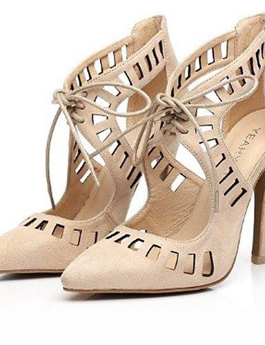 UWSZZ IL Sandali eleganti comfort Scarpe Donna-Sandali-Casual / Serata e festa / Formale-Tacchi / A punta-A stiletto-Scamosciato-Nero / Blu / Tessuto almond almond