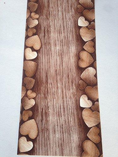 Tappeto cucina a metraggio pvc largo 55 marrone cuori legno