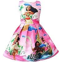 WNQY Toddler Moana Little Girls Printed Princess Dress Cartoon Party Dress (Pink,90/1-2T)