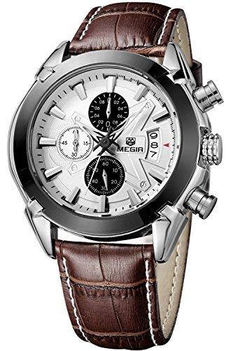 Megir 2020G pour homme militaire poignet montres chronographe multifonction 3ATM étanche à quartz (Marron Blanc)