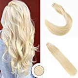 Ugeat Extensiones de Cabello Humano Natural 100 g/Paquete 40 Hilos Rubio #60 Skin Weft Tape on Hair Extensions 28 Pulgadas