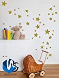 Walldestickers set of 55 Mixed size Stars Wall Stickers Kid Decal Art Nursery Bedroom Vinyl Decoration (Gold)