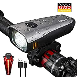 Antimi LED Fahrradlicht Set,StVZO Zugelassen USB Wiederaufladbar Fahrradbeleuchtung Set mit IPX5 Wasserdicht Frontlicht & Rücklichter,Fahrradlampe mit Samsung 2600mAh Li-ion Akku