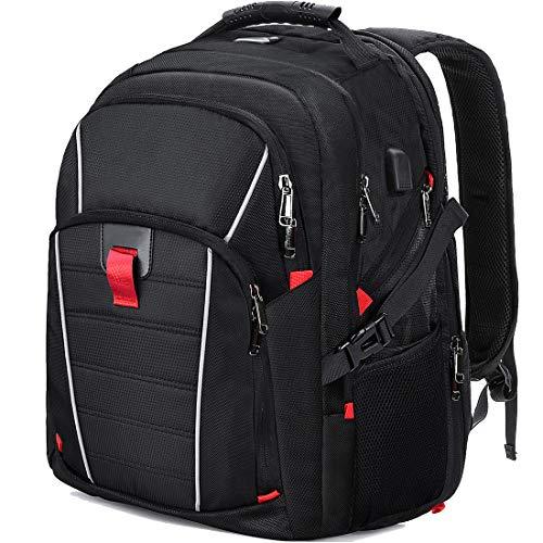 NUBILY Laptop Notebook Rucksack Herren 17,3 Zoll Schulrucksack Jungen Teenager Business Wasserdicht Mit USB Ladeanschluss Tasche Für Männer Schwarz