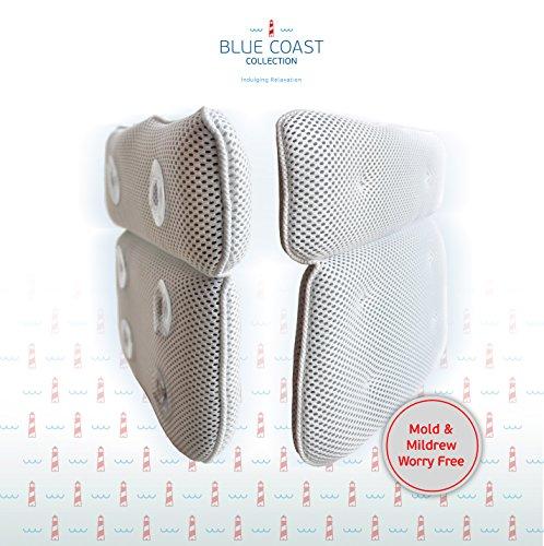 Coussin de bain haut de gamme pour baignoire et jacuzzi! L'Rousset Oreiller de Baignoire haut de gamme conçu pour le confort avec des fibres douces et de grandes ventouses, oreiller facile à nettoyer et résistant aux odeurs pour jacuzzi avec technolo image 2