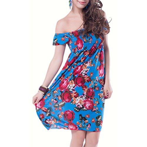 Waooh - Blumen Bedruckt Kurzen Kleid Behr Blau