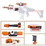 FOKOM Upgrade Zubehör Set: Zielfernrohr + Taschenlampe + Handy Halterung + Barrel Verlängerung + Vohrrohr Adapter für Nerf N-Strike Elite Rapidstrike CS-18