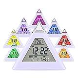 Actim Weißer Bunter Wecker LED Verfärbungs Pyramiden Wecker mit Temperatur Wecker und Schlaf Funktion