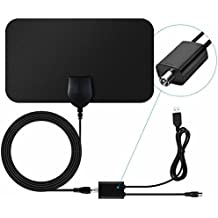 TV Aerial,Indoor Freeview Aerial 50 Mile Range Amplified TV Aerial Indoor with Detachable Signal Booster Amplifier and 13.2FT High Performance Coaxial Cable for Digital Freeview