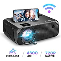 Videorojecteur WiFi, Full HD 1080P Supporté 4800 Lux Wireless Screen Mirroring Projecteur, Native 720P Retroprojecteur HDMI Portable, 300'' Display Android / iOS / Ordinateur / PC / Windows 10 -GC355