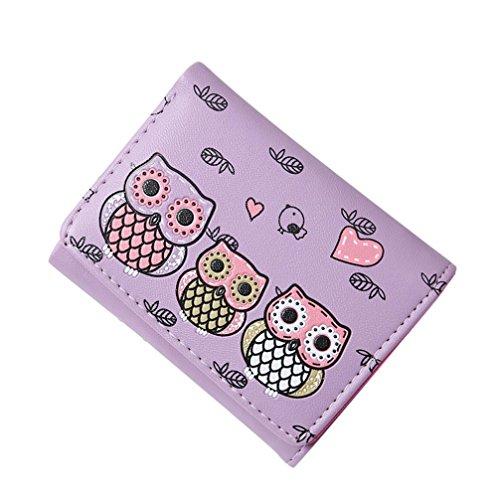 squarex Lovely Frauen Einfache Retro Eule Druck Kurze Geldbörse COIN Geldbörse Kartenhalter Handtasche (Slim Kurze Tasche)