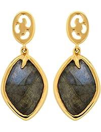 Missoma 18ct Gold Plated Short Maiya Drop Earrings in Labradorite
