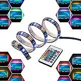 LED Stripes, 4*50cm TV Hintergrundbeleuchtung, Lichterkette Streifen, LED Leiste Lichtleiste, LED Bänder Lichterkette, Indirekte beleuchtung, LED bunt Lichtschlauch, inkl.Fernbedienung Farbwechsel, 2m selbstklebend