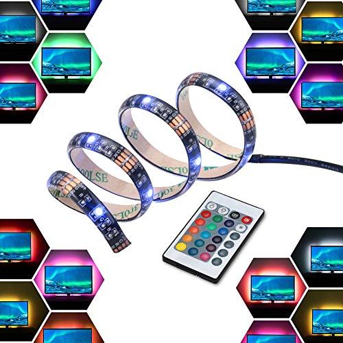 50cm(19.6 Zoll)X4 TV Hintergrundbeleuchtung Mit Fernbedienung RGB Lichterkette USB Lichtleiste, Streifen Lichtschlauch Für TV/PC, HDTV, LCD-Bildschirm, Musikinstrumente, Reduzieren Überanstrengung