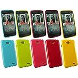 Emartbuy® LG L90 Glänzend Gel Hülle Schutzhülle Case Cover Packet Mit 5 - Hot Rosa, Rot, Blau, Gelb, Grün