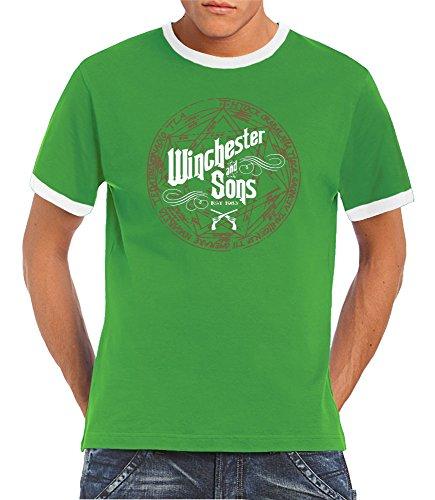 touchlines-t-shirt-pour-homme-avec-imprime-winchester-and-sons-vert-vert-blanc-large