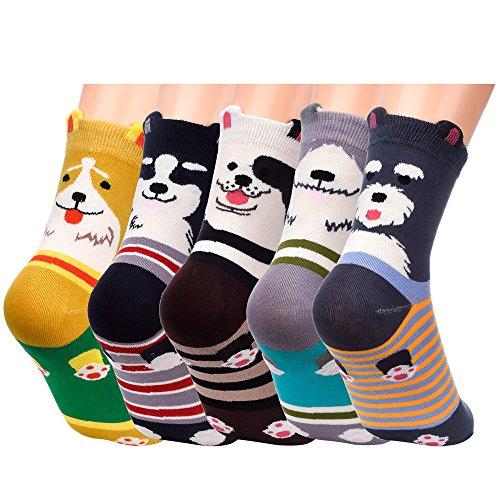 Antner 4-5 Pack Cotton Socks Cartoon Animal Novelty Socks Unisex Thermal Socks