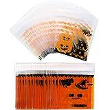 Jovitec 200 Stück Halloween Selbstklebend Candy Taschen Klar Cookie Taschen Cellophan Treat Taschen für Party Geschen Lieferungen, 2 Stile