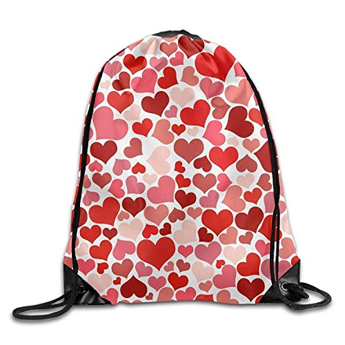 Gym Drawstring Bag Backpack Red Heart Pattern Halloween Unisex Gym Shoulder Bag String Bags (Halloween Ballerina Zombie)