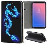 Samsung Galaxy J7 2017 J730 Hülle Premium Smart Einseitig Flipcover Hülle Galaxy J7 2017 Flip Case Handyhülle Samsung J7 2017 Motiv (130 Drache Dragon Blau Schwarz)