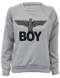Ladies Sweatshirt Womens Top Jumper Army Eagle Boy Print Casual Fleece Lined New BOY
