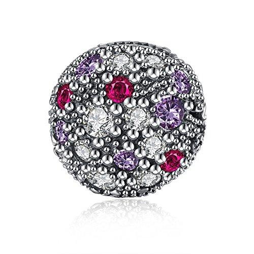 NYKKOLA Bunte Swarovski Elemente Kristall Party Ball Form 925 Sterling Silber Charms Perlen passt Pandora (Party Passt)