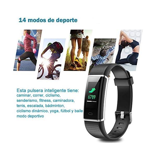 YAMAY Pulsera de Actividad Inteligente con Pulsómetro, Impermeable IP68 Smartwatch con 14 Moda Deportiva, Podómetro Pulsera Inteligente para Mujer Hombre Niño Reloj Inteligente Android y iOS Teléfono 6