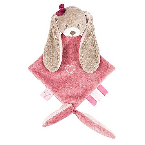 Nattou Kleine Schnuffeltuch Mädchen, 25 x 20 cm, rosa - Nina das Kaninchen