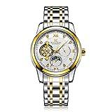 WEISIKAI Herren Uhren,Automatische Mechanische Edelstahl wasserdichte Armbanduhr Herren Luxusmarke Datum Tourbillon Uhr (Gold und Silber + Weiß)